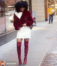 "ecstasymodels: ""Credit to @ayeciara : I got to channel my innner throwback lil kim in chitown 😏❤️🌨 Laced up in @lolashoetique thigh highs. Winter gotos. #lolashoetique. . #melaninonfleek #blackgirlmagic #bgki #fallfashion #ootdmagazine..."