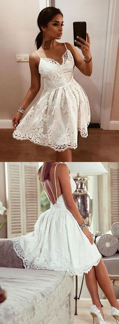 a line spaghetti straps short homecoming dresses, simple white backless short prom dresses, sexy appliques short party dresses