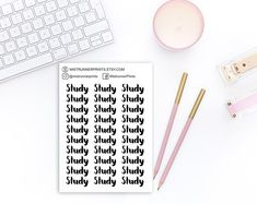Study printed bold script stickers: study, typography, printed script, black and white, word stickers Mini Hands, Beautiful Fonts, Weekly Planner, Planner Stickers, Hand Lettering, How To Draw Hands, Cursive Script, Etsy Seller, Typography