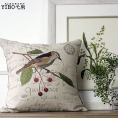 American style french markor furnishings fluid embroidery bird cushion pillow blue cherry $84.76
