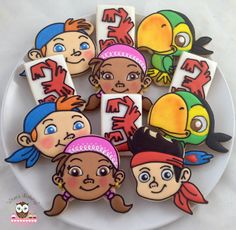 Jake and the Never Land Pirates Cookies, Jake cookies, Izzy cookies, Cubby cookies, Skully cookies, pirate cookies, pirate birthday party, jake the pirate cookies