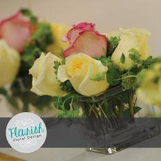 Posy Arrangement by Fleurish Floral Design | Blupleurum, Creme de la Creme Roses, and Pink Roses