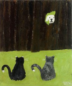 Gary Bunt -The Broken Fence - Someone is digging holes  In my masters flower beds They've even left their calling card In amongst his veg I'm not a happy dog you know For through these broken slats I'm looking at the culprits It's next doors bloody cats