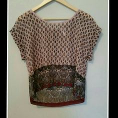 """Printed Top Printed sheer top with tacked sleeves - zipper at back of top - shades of blue , burgundy and brown and black adorn this top - 100% polyester -  chest measures  20"""" - length of 21"""" - Size S Xhilaration Tops"""