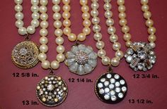 Crystal Button Necklace on Pearls