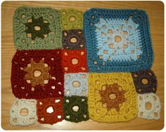 Garden Patch Granny Afghan by Lion Brand.  This is the first rectangle I have sewn together.  Isn't it lovely?  I just love all the colors and how they come together.  Gorgeous!