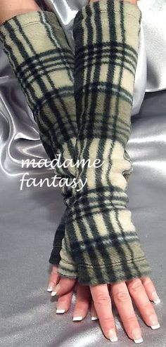 Extra Long Fleece Fingerless Gloves / Arm Warmers - Green Tartan