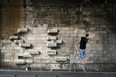 3D bricks street art