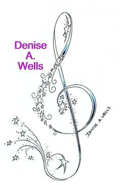 Treble clef and stars - 30 Colorful Tattoo Fonts by Denise A. Wells <3 !