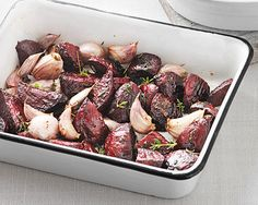 This sweet and earthy roasted beetroot recipe goes well with roast pork or chicken.