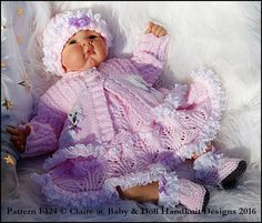 Baby and Doll Hand Knit Designs for Sale Baby Doll Clothes, Crochet Doll Clothes, Doll Clothes Patterns, Crochet Dolls, Baby Dolls, Babies Clothes, Animal Knitting Patterns, Baby Sweater Knitting Pattern, Baby Patterns