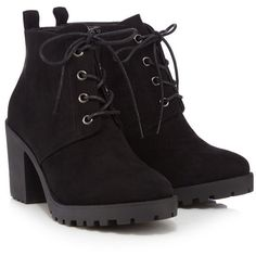 Red Herring Black lace-up block heel ankle boots (£27) ❤ liked on Polyvore featuring shoes, boots, ankle booties, heels, black bootie boots, black suede bootie, lace up booties, black bootie and black booties