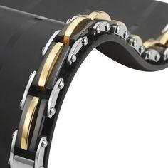 Unique Stainless Steel Trophy Link Bracelet Silver Black Gold | RnBJewellery
