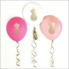 Gold Pineapple Party Balloons - 12 Inch Set Of 6