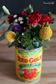 DIY:: Recycled Can to Vintage Country Farmhouse Vase !