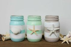 Stripey ones would be cute for qtips, cotton balls, etc. Thirty Beachy Mason Jar Ideas | Yesterday On Tuesday