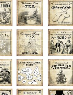 Antique Christmas Potion Labels I 2x2 inch digital collage sheet inchies 50mm…