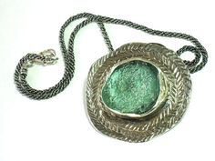 Roman Glass  Necklace  Ancient Glass Silver by rioritajewelry