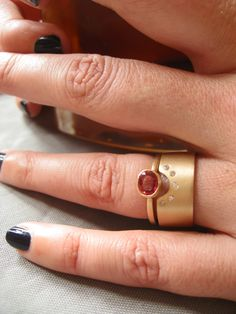 Fire Queen Engagement Ring - post consumer sapphire in 14 karat gold - - Sharon Z Jewelry in San Francisco made by Sharon Zimmerman