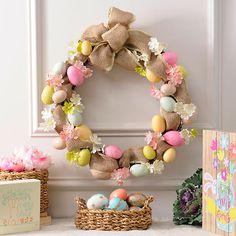 Burlap Easter Egg Wreath | Kirklands