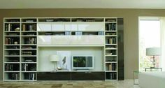 Logo 215 Wall Unit with Bookcase System by Sangiacomo, Italy has bookcase mat lacquered Canapa and Terranova, top-hung doors in lacquered Canapa glass. Manufactured By San Giacomo.