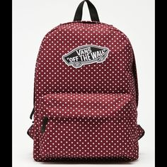 Vans Maroon And White Polka Dot Backpack Brand new beautiful Vans backpack. Check out that adorable pattern. 3 other backpacks listed, too! Vans Maroon And White Polka Dot Backpack Vans Bags Backpacks