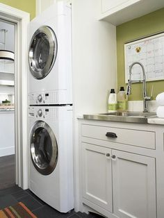Stackable Washer And Dryer - Design photos, ideas and inspiration. Amazing gallery of interior design and decorating ideas of Stackable Washer And Dryer in laundry/mudrooms, kitchens by elite interior designers. Laundry Room Sink, Laundry Room Remodel, Laundry Room Storage, Laundry Room Design, Laundry Rooms, Mud Rooms, Laundry Cabinets, Laundry Area, Wall Cabinets