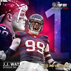 1st defensive player EVER to be ranked 1st in the history of the NFL TOP 100 PLAYERS list. For 2015...at #1...Houston Texans DE, JJ WATT! ❤️ (don't forget the Texans are the featured team on HBO's HARD KNOCKS this pre-season starting this month)