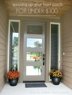 Great tips for Sprucing Up A Front Porch On A Budget Beautiful front door pots dont have to cost an arm and a leg and Im going to show you a few of my tricks Design Din. Beautiful Front Doors, Backyard Lighting, Front Door Decor, Home Reno, Porch Decorating, Home Projects, Backyard Projects, Exterior Design, Diy Home