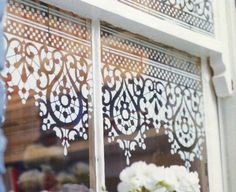 I absolutely love this idea  - stencilling on windows. Especially if you have a cottage or a cabin where you would like some privacy but don...