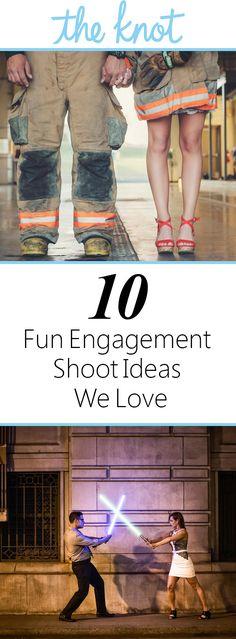 10 Fun Engagement Shoot Ideas We Love | https://www.theknot.com/content/creative-engagement-photo-ideas