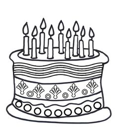 Free Online Birthday Cake Colouring Page - Kids Activity Sheets: Birthday Colouring Pages