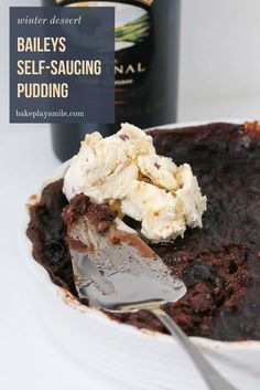 Our Baileys Self-Saucing Pudding is classic winter dessert recipe with a twist. a rich chocolate sponge pudding with a cheeky and indulgent Baileys sauce. Self Saucing Chocolate Pudding, Self Saucing Pudding, Chocolate Pudding Recipes, Winter Desserts, Fun Desserts, Delicious Desserts, Winter Meals, Instant Pudding, Chia Pudding