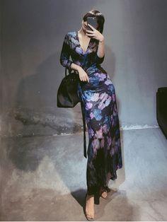 Fleepmart Plus Size Chinoiserie Evening Dress One-piece Belt Sexy V-Neck Black Purple Flower Print Women Formal Gowns Full Sleeves Robe