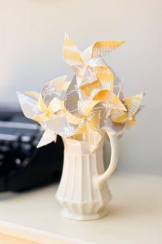 Grey and Yellow Mini Twirlable Pinwheels