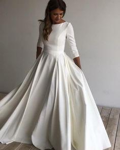 Minimal Wedding Dress, Modest Wedding Gowns, Minimalist Wedding Dresses, White Wedding Dresses, Bridal Dresses, Mormon Wedding Dresses, Boat Neck Wedding Dress, Classy Wedding Dress, Wedding Dress Styles