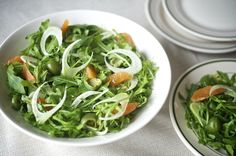 Salad of shaved fennel, arugula, Cara Cara oranges and Castelvetrano olives.