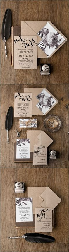Rustic simple wedding invitations / http://www.deerpearlflowers.com/rustic-wedding-invitations/