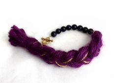 Blue Sandstone Bracelet with Tassel, Yarn and Bead Bracelet, Natural Blue Sandstone, Beaded Bracelet, Braided Bracelet, Summer Bracelet by LeensLittleThings on Etsy