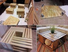 Homemade coffee table. Get the crates at Home Depot for under $10 each.