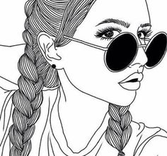 32 Best Ideas Drawing Of Girls Faces Easy Outline Drawings, Cute Drawings, Pencil Drawings, Girl Drawings, Tumblr Girl Drawing, Tumblr Drawings, Girly M, Girl Outlines, Tumblr Outline