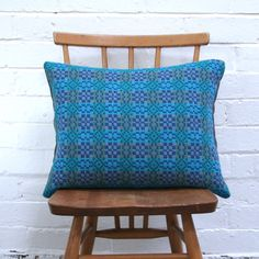 Winter's Moon — Vintage Welsh Tapestry Cushion (Blue) - Made to Order