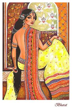 Indian Art Goddess Art Traditional Indian Painting by evitaworks, $16.00