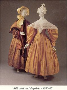 1830 dress | 1830-33, pelisse and dress, amber/apricot/citron, white embroidered ...