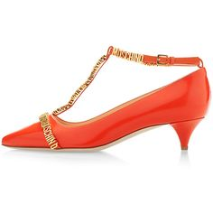 Moschino Multi Lettering Pump Orange featuring polyvore, fashion, shoes, pumps, orange, orange leather shoes, t strap pumps, moschino shoes, orange pumps and pointy toe shoes