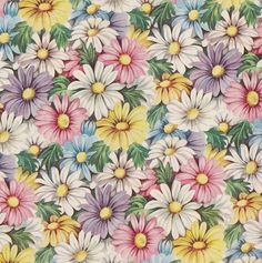 Vintage Floral Gift Wrap Spring Daisy