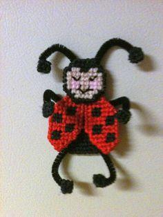 Lady Bug Magnet Needlepoint Plastic Canvas on Etsy, $3.00