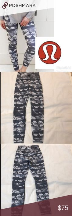 High rise full length cloud  lululemon legging Rare print. These are full length and high rise wunder under lululemon leggings. No signs of pilling. Never dried in dryer, only hung to dry. EUC lululemon athletica Pants Leggings