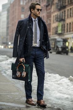 Ted Baker coat, blazer, trousers, & tie | Johnston & Murphy shoes | Details at iamgalla.com