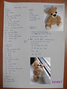 amigurumi ayı yapılışı,küçük minik ayı yapılışı,tığ işi ayı tarifi,amigurumi free pattern bear